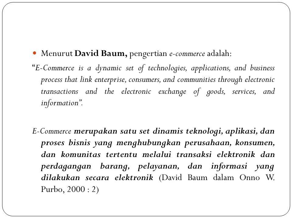 "Menurut David Baum, pengertian e-commerce adalah: ""E-Commerce is a dynamic set of technologies, applications, and business process that link enterpris"