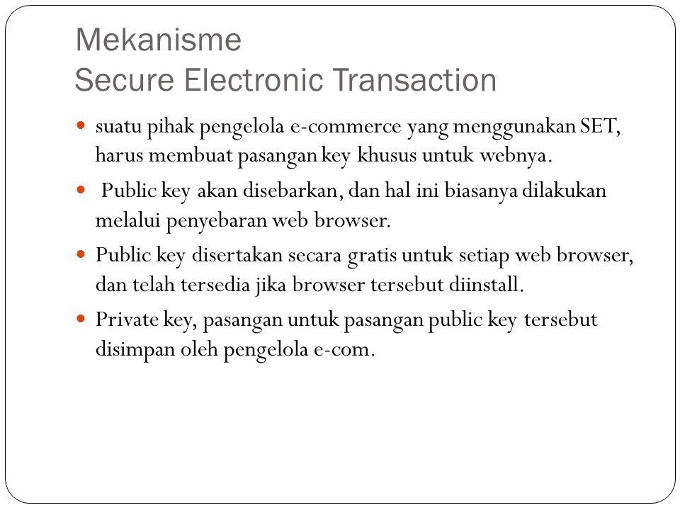 Mekanisme Secure Electronic Transaction suatu pihak pengelola e-commerce yang menggunakan SET, harus membuat pasangan key khusus untuk webnya. Public