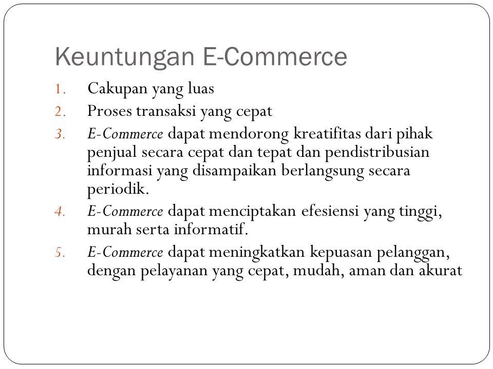 Keuntungan E-Commerce 1. Cakupan yang luas 2. Proses transaksi yang cepat 3. E-Commerce dapat mendorong kreatifitas dari pihak penjual secara cepat da