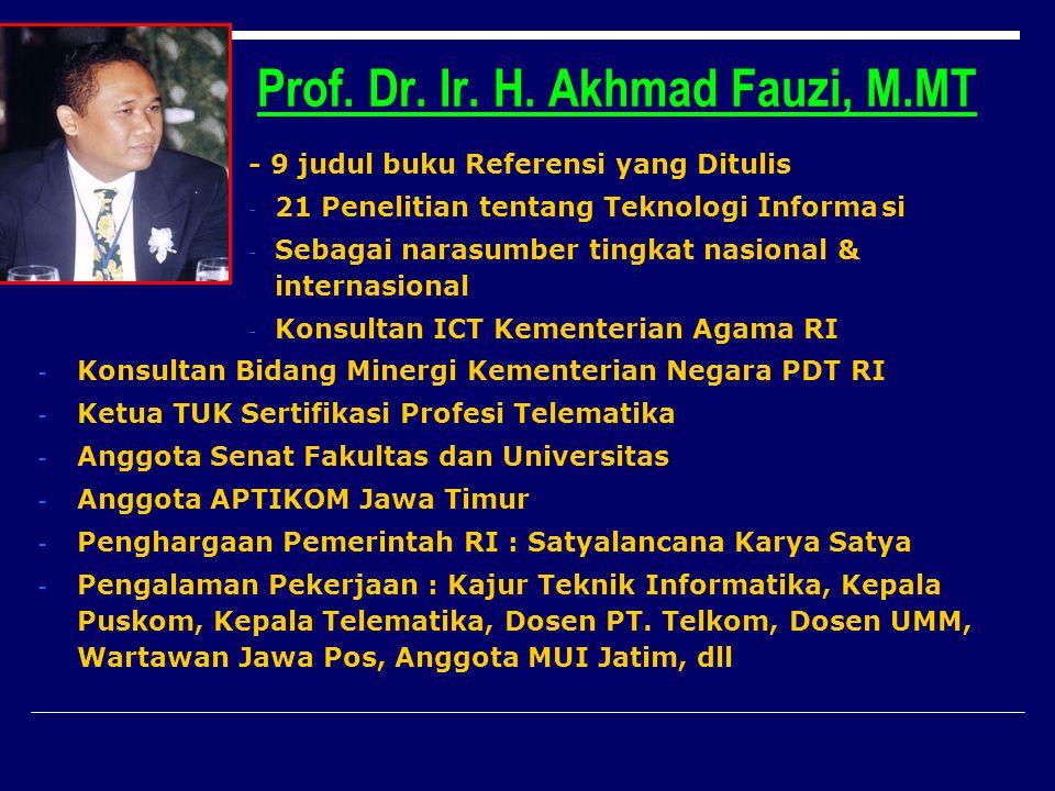 Prof. Dr. Ir. H. Akhmad Fauzi, M.MT - 9 judul buku Referensi yang Ditulis - 21 Penelitian tentang Teknologi Informasi - Sebagai narasumber tingkat nas