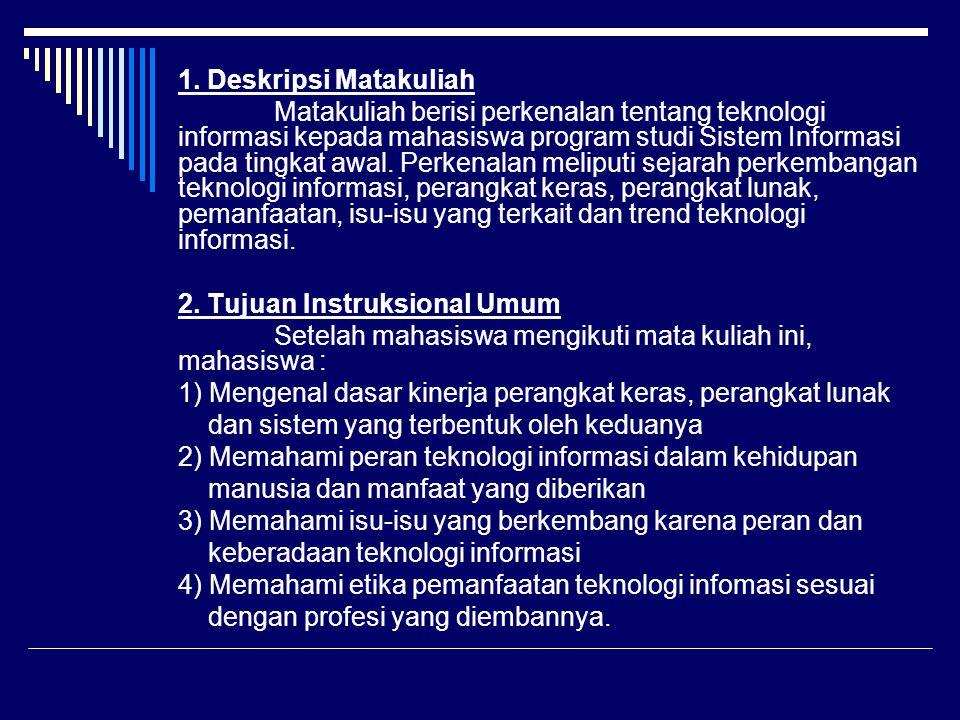 1. Deskripsi Matakuliah Matakuliah berisi perkenalan tentang teknologi informasi kepada mahasiswa program studi Sistem Informasi pada tingkat awal. Pe