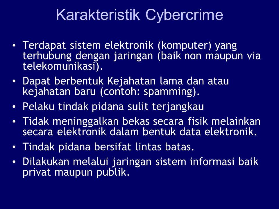 Karakteristik Cybercrime Terdapat sistem elektronik (komputer) yang terhubung dengan jaringan (baik non maupun via telekomunikasi). Dapat berbentuk Ke
