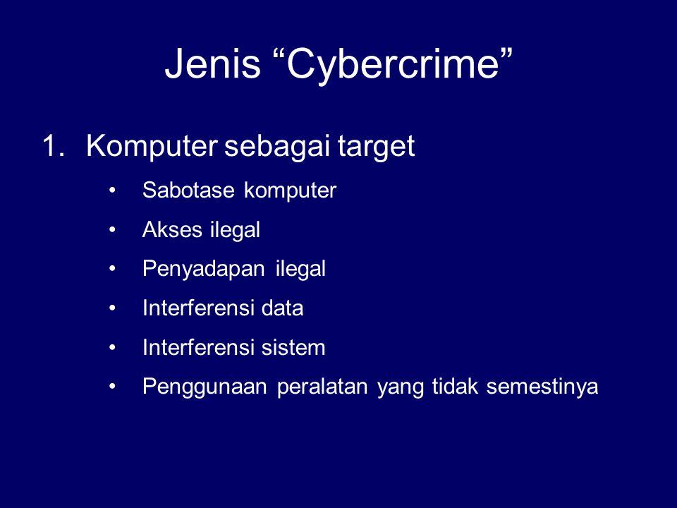 """Jenis """"Cybercrime"""" 1.Komputer sebagai target Sabotase komputer Akses ilegal Penyadapan ilegal Interferensi data Interferensi sistem Penggunaan peralat"""