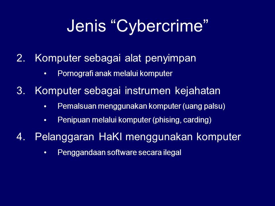 """Jenis """"Cybercrime"""" 2.Komputer sebagai alat penyimpan Pornografi anak melalui komputer 3.Komputer sebagai instrumen kejahatan Pemalsuan menggunakan kom"""