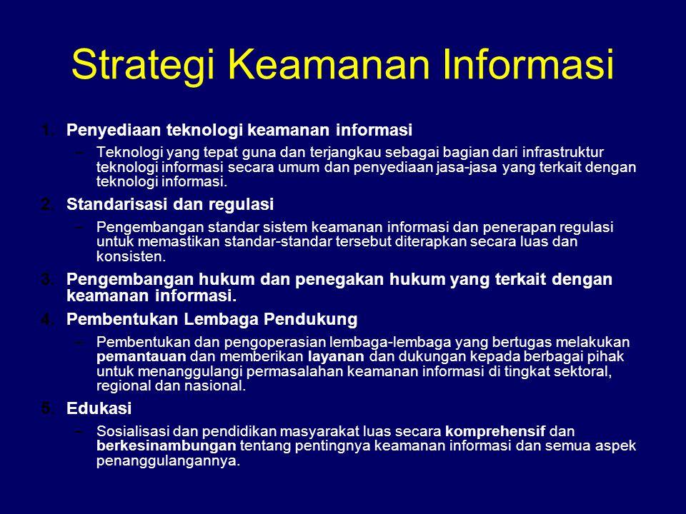 Strategi Keamanan Informasi 1.Penyediaan teknologi keamanan informasi –Teknologi yang tepat guna dan terjangkau sebagai bagian dari infrastruktur tekn