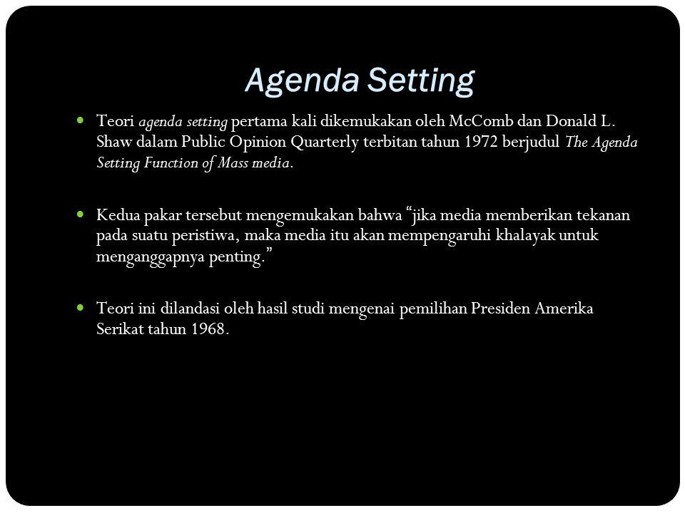 Agenda Setting Teori agenda setting pertama kali dikemukakan oleh McComb dan Donald L.