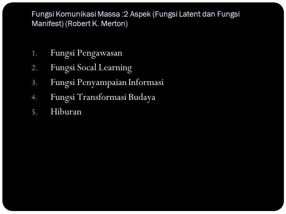 Fungsi Komunikasi Massa :2 Aspek (Fungsi Latent dan Fungsi Manifest) (Robert K.