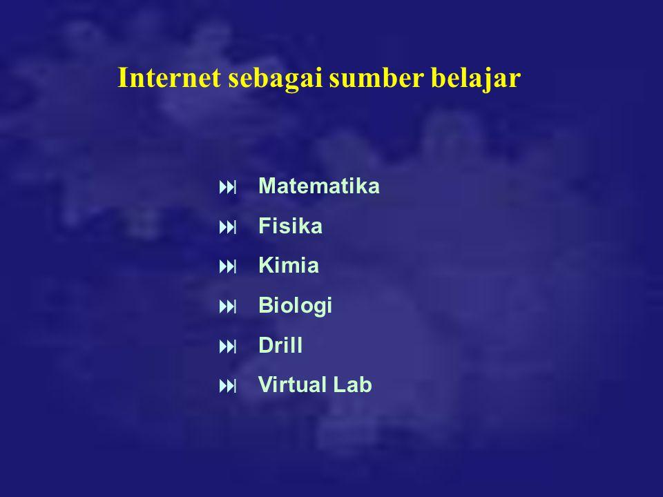 Internet sebagai sumber belajar  Matematika  Fisika  Kimia  Biologi  Drill  Virtual Lab