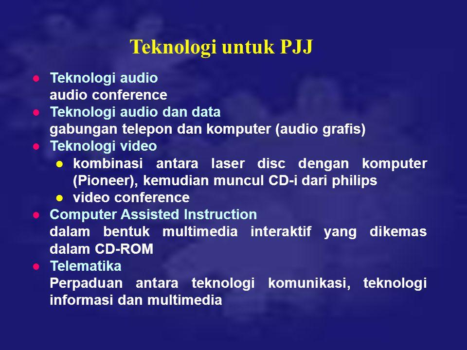 Teknologi untuk PJJ l Teknologi audio audio conference l Teknologi audio dan data gabungan telepon dan komputer (audio grafis) l Teknologi video l kom