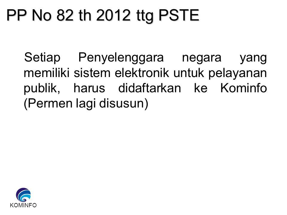 KOMINFO PP No 82 th 2012 ttg PSTE Setiap Penyelenggara negara yang memiliki sistem elektronik untuk pelayanan publik, harus didaftarkan ke Kominfo (Pe
