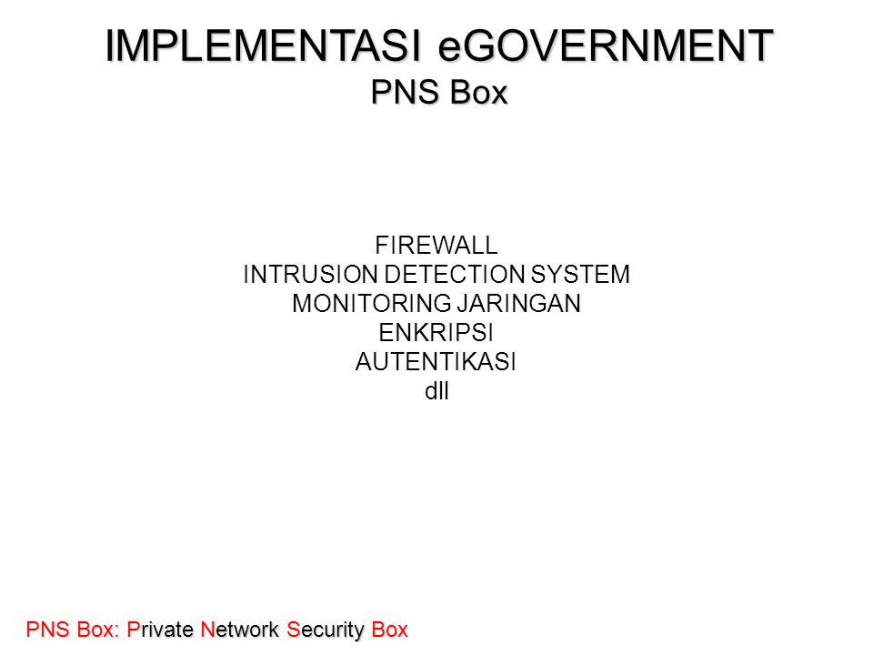 KOMINFO PNS Box: Private Network Security Box IMPLEMENTASI eGOVERNMENT PNS Box FIREWALL INTRUSION DETECTION SYSTEM MONITORING JARINGAN ENKRIPSI AUTENT