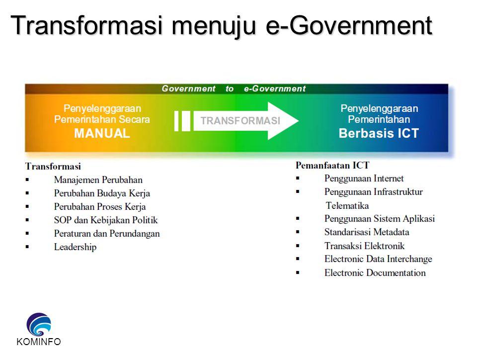 Pengertian e-Government e-Government Pemanfaatan teknologi informasi dan komunikasi dalam proses pemerintahan untuk meningkatkan efisiensi, efektivitas, transparansi, dan akuntabilitas penyelenggaraan pemerintahan.