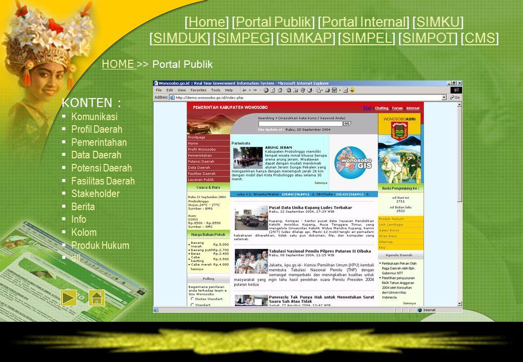KONTEN :  Komunikasi  Profil Daerah  Pemerintahan  Data Daerah  Potensi Daerah  Fasilitas Daerah  Stakeholder  Berita  Info  Kolom  Produk