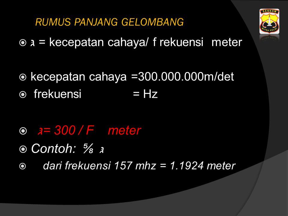 גּ = kecepatan cahaya/ f rekuensi meter  kecepatan cahaya =300.000.000m/det  frekuensi = Hz  גּ = 300 / F meter  Contoh: ⅝ גּ  dari frekuensi 157