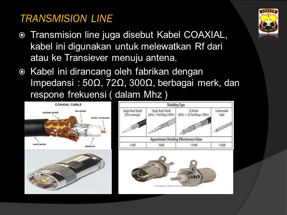 TRANSMISION LINE  Transmision line juga disebut Kabel COAXIAL, kabel ini digunakan untuk melewatkan Rf dari atau ke Transiever menuju antena.  Kabel