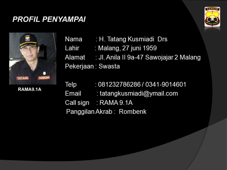 Nama : H. Tatang Kusmiadi Drs Lahir : Malang, 27 juni 1959 Alamat : Jl. Anila II 9a-47 Sawojajar 2 Malang Pekerjaan : Swasta Telp : 081232786286 / 034
