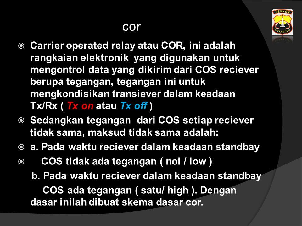 cor  Carrier operated relay atau COR, ini adalah rangkaian elektronik yang digunakan untuk mengontrol data yang dikirim dari COS reciever berupa tega