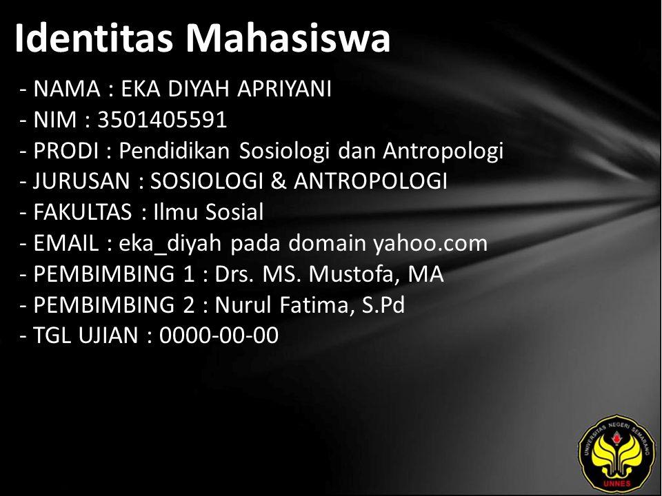 Identitas Mahasiswa - NAMA : EKA DIYAH APRIYANI - NIM : 3501405591 - PRODI : Pendidikan Sosiologi dan Antropologi - JURUSAN : SOSIOLOGI & ANTROPOLOGI