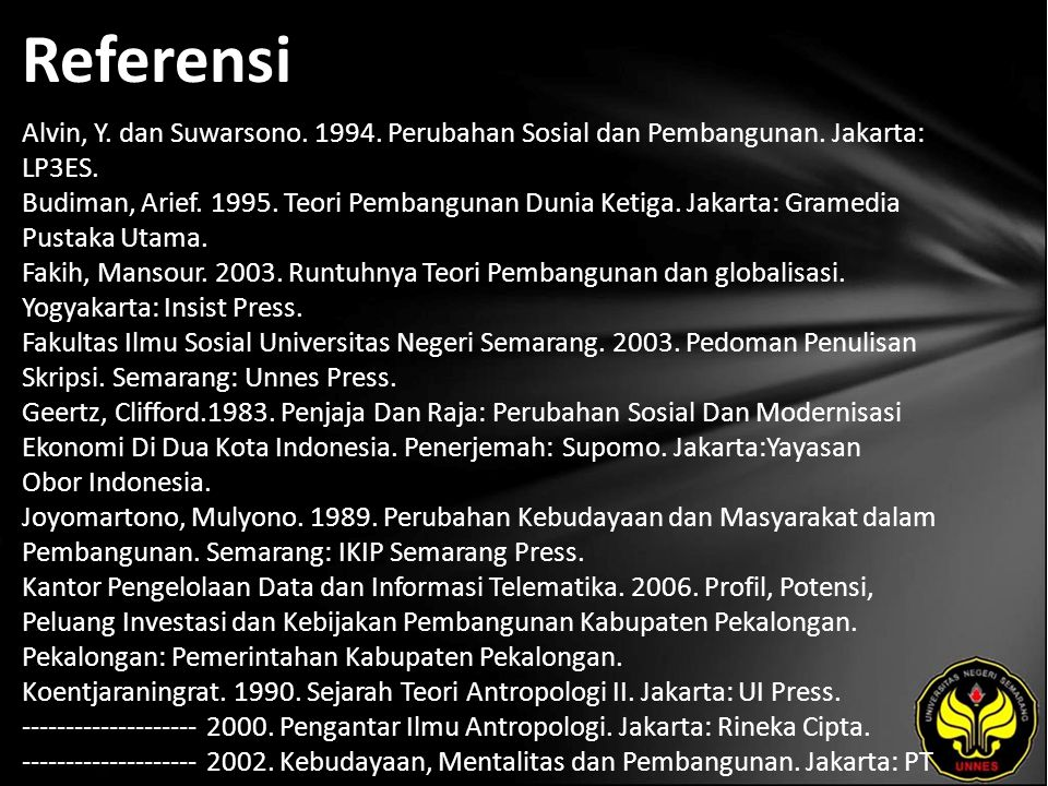 Referensi Alvin, Y. dan Suwarsono. 1994. Perubahan Sosial dan Pembangunan. Jakarta: LP3ES. Budiman, Arief. 1995. Teori Pembangunan Dunia Ketiga. Jakar