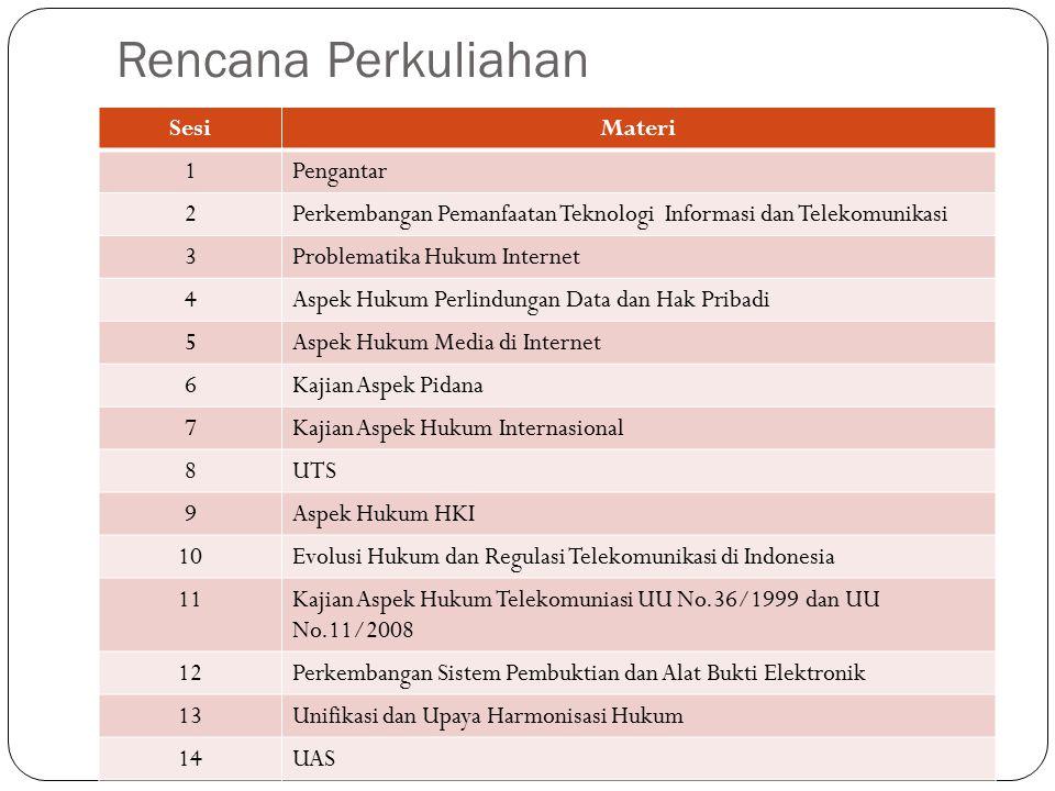 Rencana Perkuliahan SesiMateri 1Pengantar 2Perkembangan Pemanfaatan Teknologi Informasi dan Telekomunikasi 3Problematika Hukum Internet 4Aspek Hukum Perlindungan Data dan Hak Pribadi 5Aspek Hukum Media di Internet 6Kajian Aspek Pidana 7Kajian Aspek Hukum Internasional 8UTS 9Aspek Hukum HKI 10Evolusi Hukum dan Regulasi Telekomunikasi di Indonesia 11Kajian Aspek Hukum Telekomuniasi UU No.36/1999 dan UU No.11/2008 12Perkembangan Sistem Pembuktian dan Alat Bukti Elektronik 13Unifikasi dan Upaya Harmonisasi Hukum 14UAS