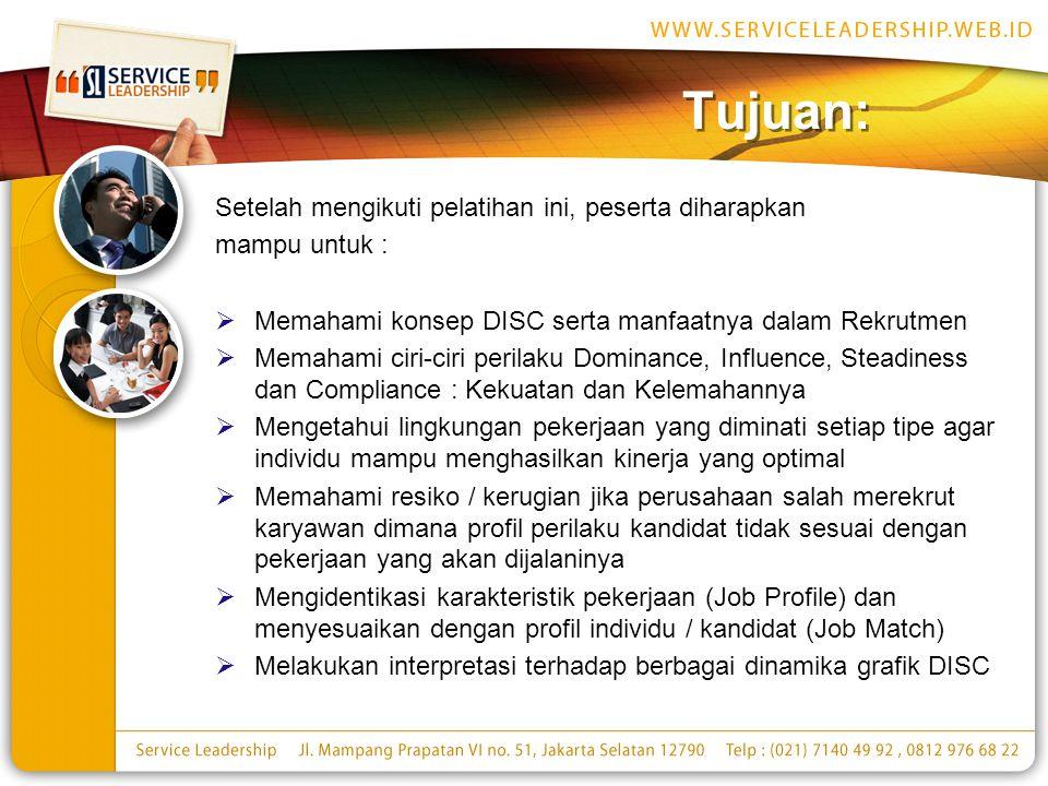 Tujuan: Setelah mengikuti pelatihan ini, peserta diharapkan mampu untuk :  Memahami konsep DISC serta manfaatnya dalam Rekrutmen  Memahami ciri-ciri