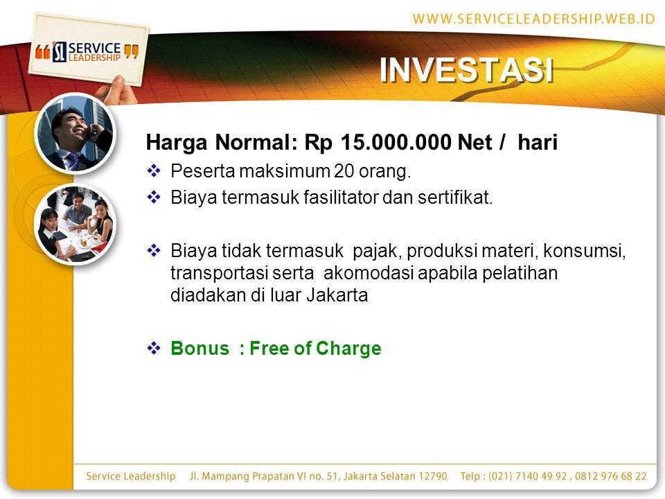 INVESTASI Harga Normal: Rp 15.000.000 Net / hari  Peserta maksimum 20 orang.  Biaya termasuk fasilitator dan sertifikat.  Biaya tidak termasuk paja