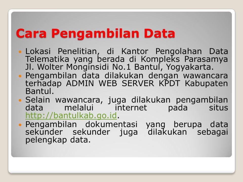 Cara Pengambilan Data Lokasi Penelitian, di Kantor Pengolahan Data Telematika yang berada di Kompleks Parasamya Jl.