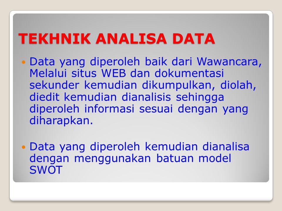 TEKHNIK ANALISA DATA Data yang diperoleh baik dari Wawancara, Melalui situs WEB dan dokumentasi sekunder kemudian dikumpulkan, diolah, diedit kemudian dianalisis sehingga diperoleh informasi sesuai dengan yang diharapkan.