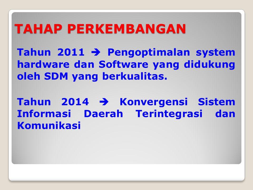 TAHAP PERKEMBANGAN Tahun 2011  Pengoptimalan system hardware dan Software yang didukung oleh SDM yang berkualitas.
