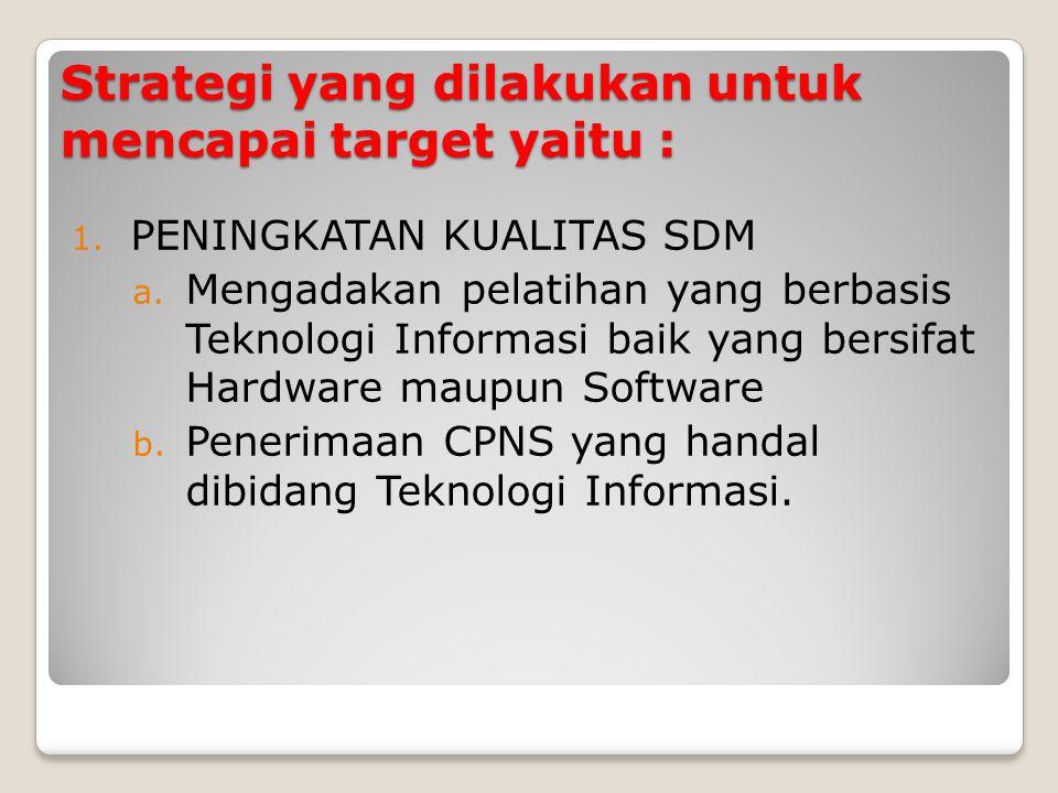 Strategi yang dilakukan untuk mencapai target yaitu : 1. PENINGKATAN KUALITAS SDM a. Mengadakan pelatihan yang berbasis Teknologi Informasi baik yang