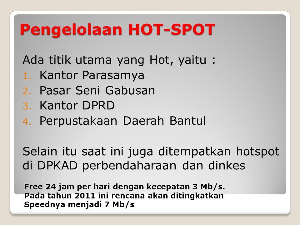 Pengelolaan HOT-SPOT Ada titik utama yang Hot, yaitu : 1.