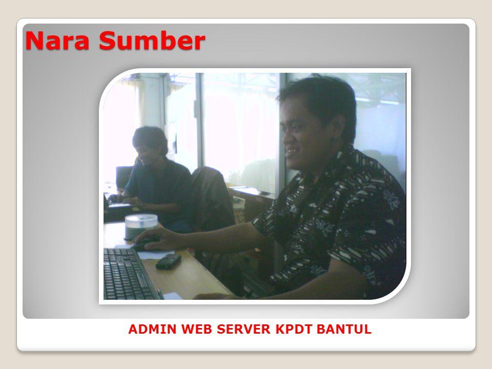 Nara Sumber ADMIN WEB SERVER KPDT BANTUL