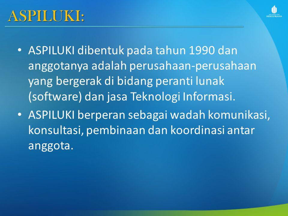ASPILUKI: ASPILUKI dibentuk pada tahun 1990 dan anggotanya adalah perusahaan-perusahaan yang bergerak di bidang peranti lunak (software) dan jasa Teknologi Informasi.