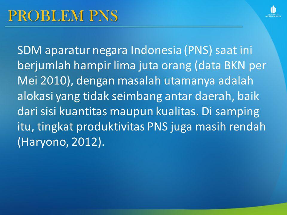 PROBLEM PNS SDM aparatur negara Indonesia (PNS) saat ini berjumlah hampir lima juta orang (data BKN per Mei 2010), dengan masalah utamanya adalah alokasi yang tidak seimbang antar daerah, baik dari sisi kuantitas maupun kualitas.