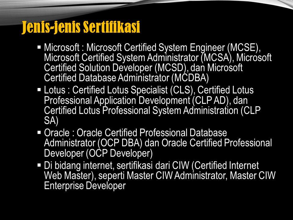 Jenis-jenis Sertifikasi  Microsoft : Microsoft Certified System Engineer (MCSE), Microsoft Certified System Administrator (MCSA), Microsoft Certified