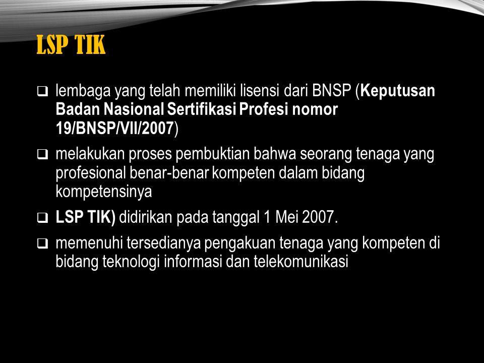 LSP TIK  lembaga yang telah memiliki lisensi dari BNSP ( Keputusan Badan Nasional Sertifikasi Profesi nomor 19/BNSP/VII/2007 )  melakukan proses pem