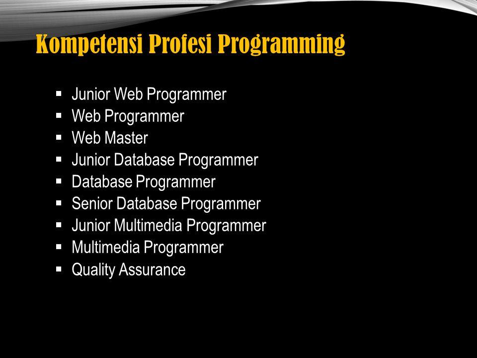 Kompetensi Profesi Programming  Junior Web Programmer  Web Programmer  Web Master  Junior Database Programmer  Database Programmer  Senior Datab