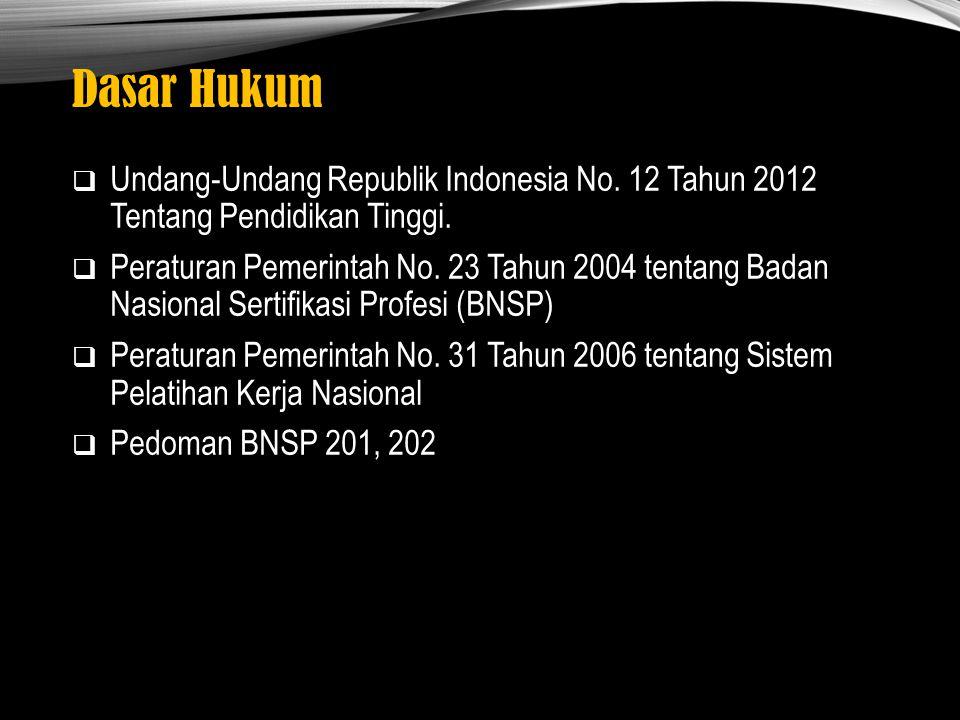 Dasar Hukum  Undang-Undang Republik Indonesia No. 12 Tahun 2012 Tentang Pendidikan Tinggi.  Peraturan Pemerintah No. 23 Tahun 2004 tentang Badan Nas