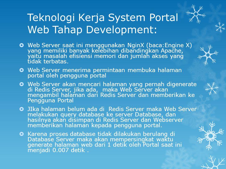 Teknologi Kerja System Portal Web Tahap Development:  Web Server saat ini menggunakan NginX (baca:Engine X) yang memiliki banyak kelebihan dibandingk