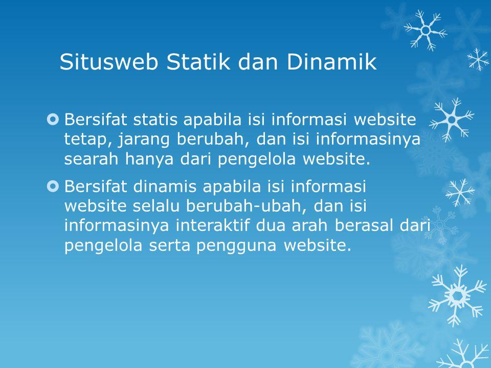 Situsweb Statik dan Dinamik  Bersifat statis apabila isi informasi website tetap, jarang berubah, dan isi informasinya searah hanya dari pengelola we
