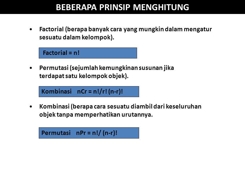 BEBERAPA PRINSIP MENGHITUNG Factorial = n.Permutasi nPr = n!/ (n-r).