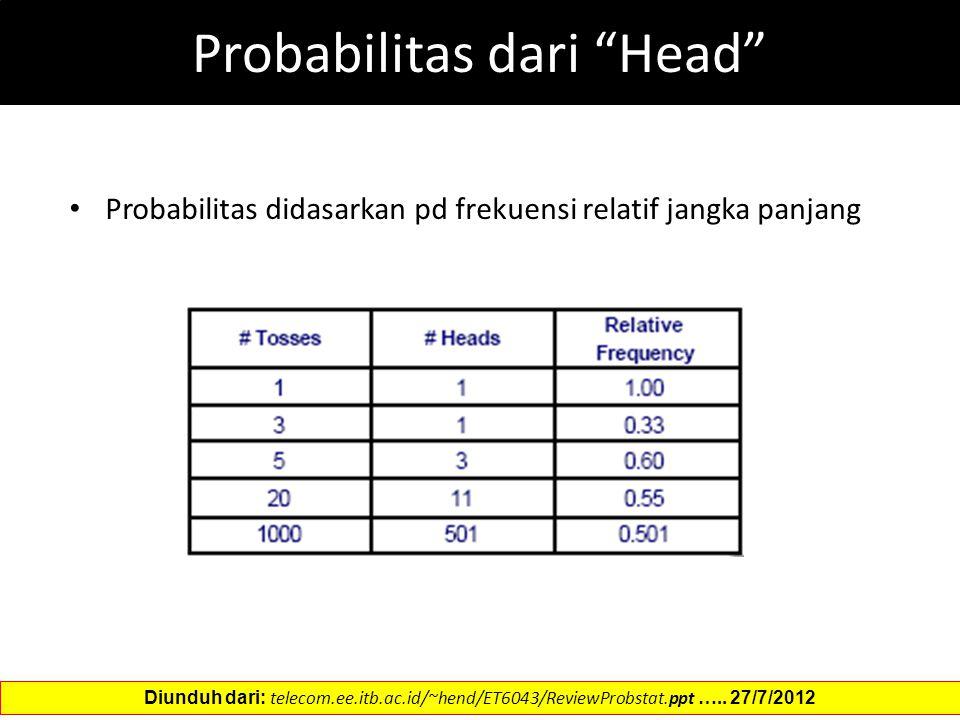 Probabilitas dari Head Probabilitas didasarkan pd frekuensi relatif jangka panjang Diunduh dari: telecom.ee.itb.ac.id/~hend/ET6043/ReviewProbstat.ppt …..