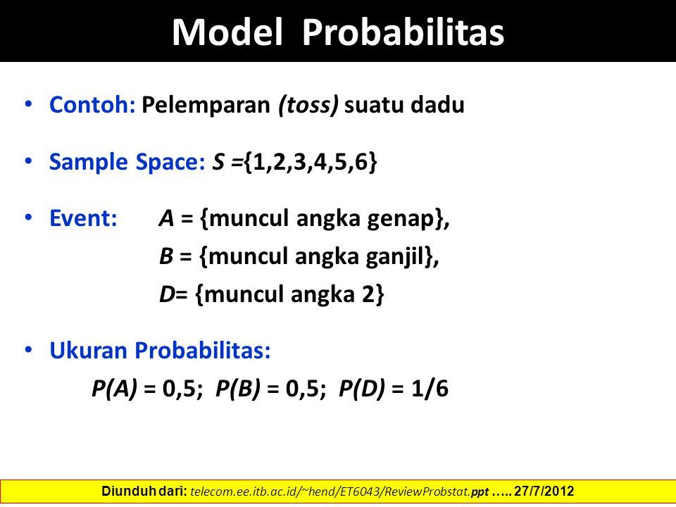 Model Probabilitas Contoh: Pelemparan (toss) suatu dadu Sample Space: S ={1,2,3,4,5,6} Event: A = {muncul angka genap}, B = {muncul angka ganjil}, D=