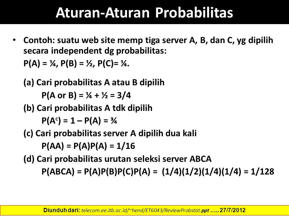 Contoh: suatu web site memp tiga server A, B, dan C, yg dipilih secara independent dg probabilitas: P(A) = ¼, P(B) = ½, P(C)= ¼. (a) Cari probabilitas