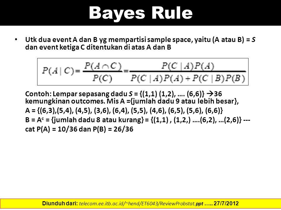 Bayes Rule Utk dua event A dan B yg mempartisi sample space, yaitu (A atau B) = S dan event ketiga C ditentukan di atas A dan B Contoh: Lempar sepasang dadu S = {(1,1) (1,2), ….