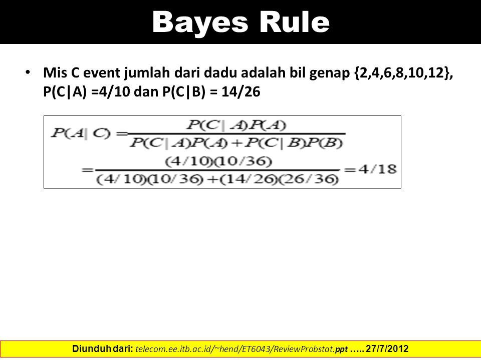 Mis C event jumlah dari dadu adalah bil genap {2,4,6,8,10,12}, P(C|A) =4/10 dan P(C|B) = 14/26 Diunduh dari: telecom.ee.itb.ac.id/~hend/ET6043/ReviewProbstat.ppt …..