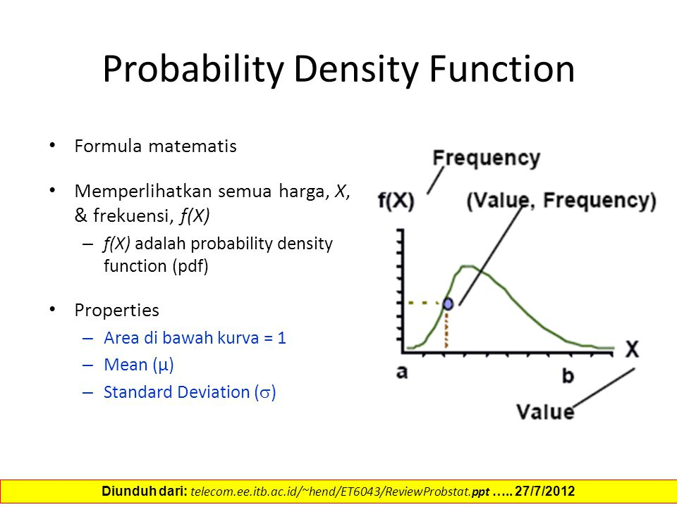 Probability Density Function Formula matematis Memperlihatkan semua harga, X, & frekuensi, f(X) – f(X) adalah probability density function (pdf) Properties – Area di bawah kurva = 1 – Mean (µ) – Standard Deviation (  ) Diunduh dari: telecom.ee.itb.ac.id/~hend/ET6043/ReviewProbstat.ppt …..