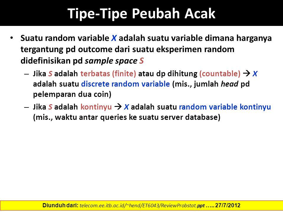 Suatu random variable X adalah suatu variable dimana harganya tergantung pd outcome dari suatu eksperimen random didefinisikan pd sample space S – Jika S adalah terbatas (finite) atau dp dihitung (countable)  X adalah suatu discrete random variable (mis., jumlah head pd pelemparan dua coin) – Jika S adalah kontinyu  X adalah suatu random variable kontinyu (mis., waktu antar queries ke suatu server database) Tipe-Tipe Peubah Acak Diunduh dari: telecom.ee.itb.ac.id/~hend/ET6043/ReviewProbstat.ppt …..