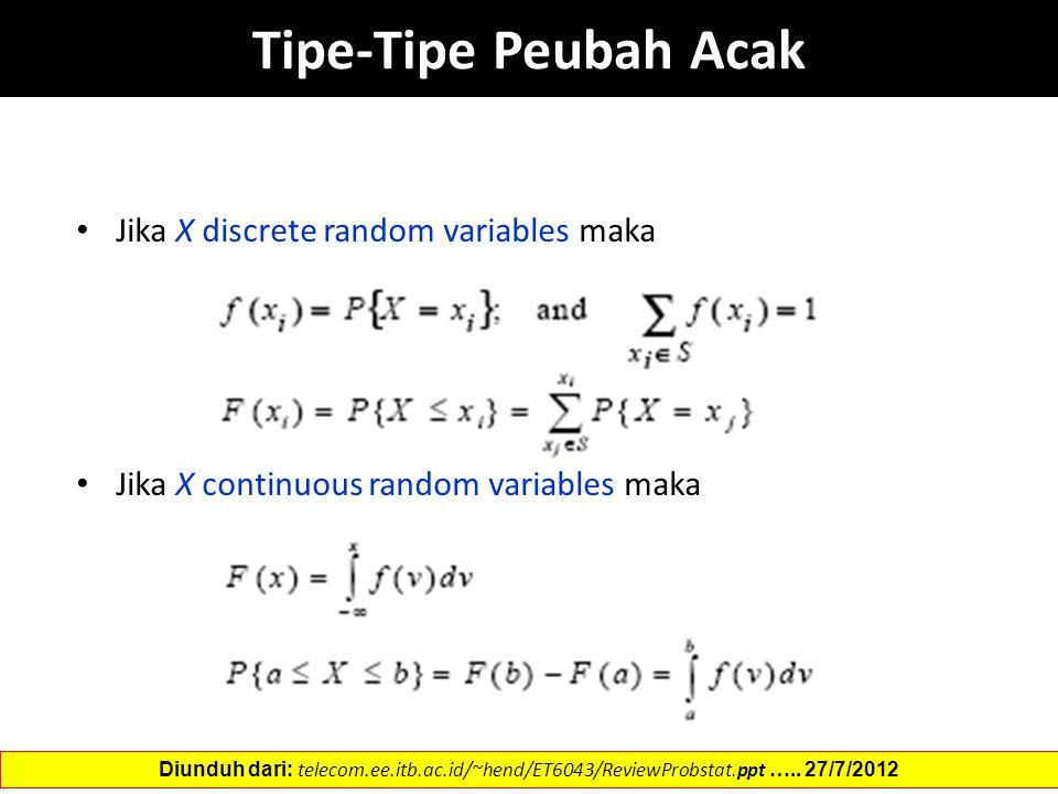 Tipe-Tipe Peubah Acak Jika X discrete random variables maka Jika X continuous random variables maka Diunduh dari: telecom.ee.itb.ac.id/~hend/ET6043/Re