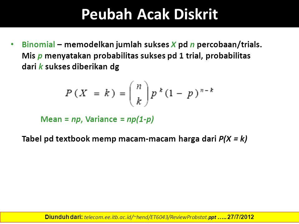 Binomial – memodelkan jumlah sukses X pd n percobaan/trials. Mis p menyatakan probabilitas sukses pd 1 trial, probabilitas dari k sukses diberikan dg